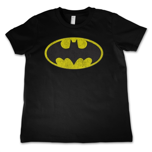 Batman - Distressed Logo Sort - Børne T-shirt